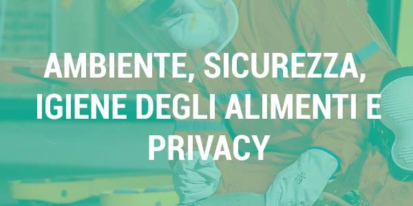 Tasto Ambiente Sicurezza Igiene delgi alimenti e privacy